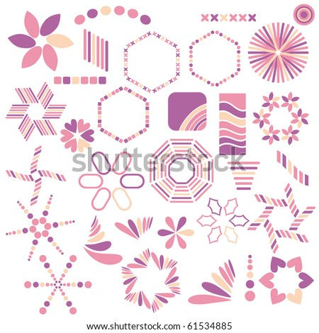 Colorful pink symbol collection over white background