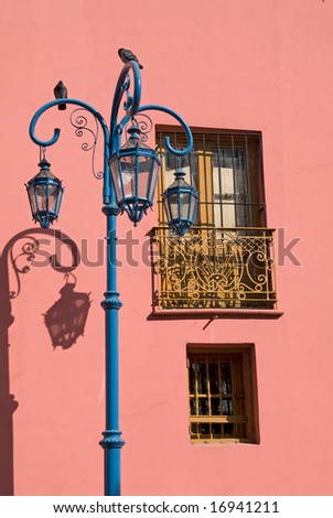 "Colorful Pink Wall in ""Caminito"" - La Boca, Buenos Aires, Argentina - stock photo"