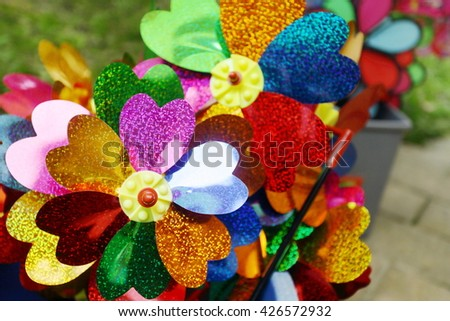Colorful pinwheel - stock photo