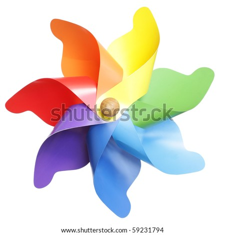 Colorful pinwheel isolated on white - stock photo