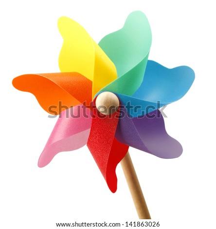 Colorful pinwheel isolated on white background - stock photo