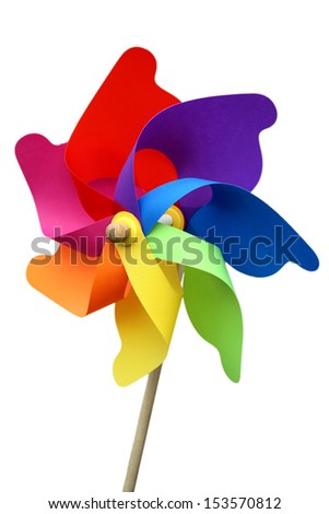 Colorful pinwheel isolated on white with clipping path - stock photo