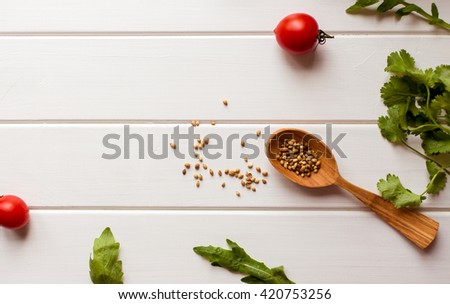 Colorful pizza ingredients pattern made of cherry tomatoes - stock photo