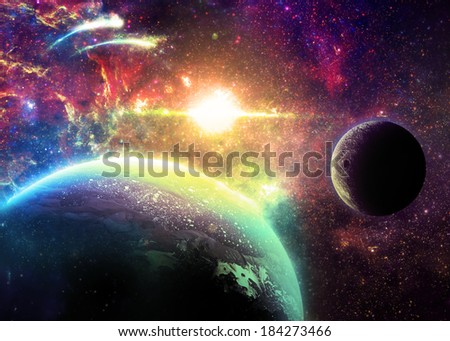 Colorful Planet and Moon Over a glowing Star - Elements of this image furnished by NASA  - stock photo