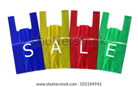 colorful plastic bag sale isolated on white background