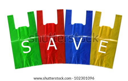 colorful plastic bag save isolated on white background - stock photo