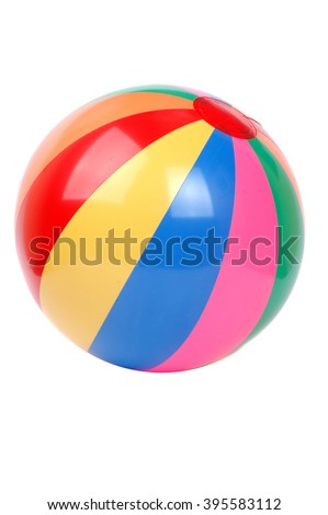 colorful plastic ball isolated on white background - stock photo