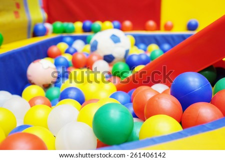 Colorful plastic balls from the children's playground - stock photo