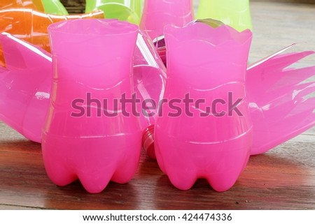 Colorful plastic bottles reuse - stock photo