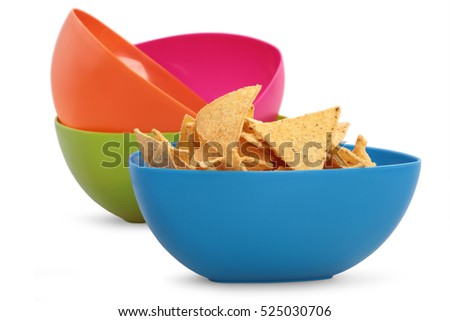 colorful plastic bowl isolated on white background