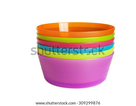 Colorful plastic bowl isolated on white background, with clipping path - stock photo