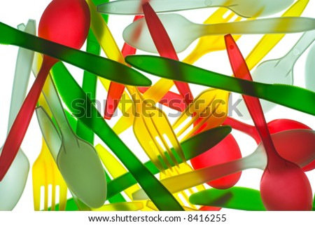 Colorful Plastic Cutlery - stock photo