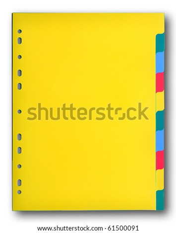 Colorful plastic index sheet on white background - stock photo