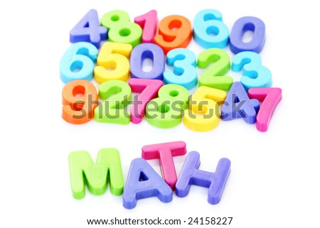 colorful plastic number on white background - math time