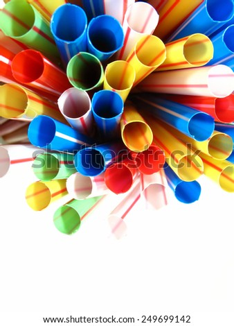 Colorful plastic straw, colored abstract motive - stock photo
