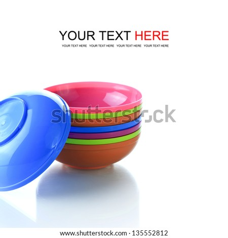 Colorful plastic tableware for baby and picnics