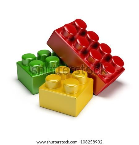colorful plastic toy blocks. 3d image. Isolated white background. - stock photo