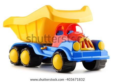 Colorful plastic truck toy isolated on white - stock photo