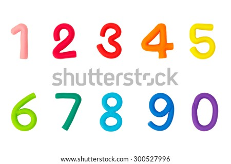 Colorful plasticine digits isolated on a white background (one,two,three,four,five,six,seven,eight,nine,zero) - stock photo