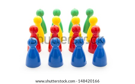 colorful play figures isolated on white background