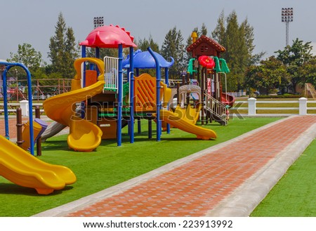 Colorful playground at lunch time. - stock photo