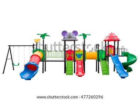 Colorful playground full set on isolated white background. clipping path