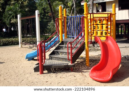 Colorful playground in the park - stock photo
