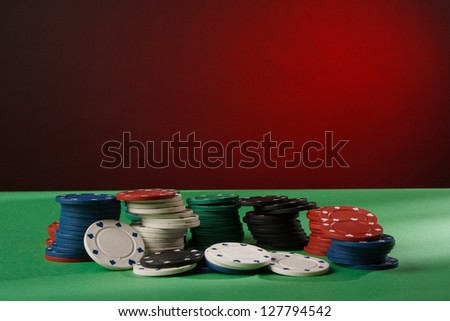 Colorful poker chips - stock photo