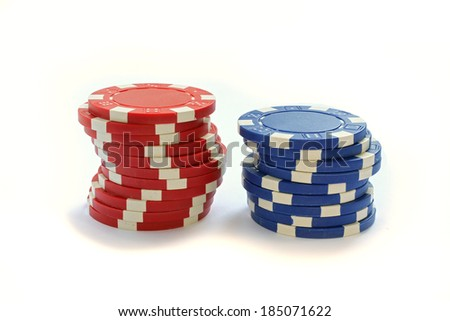 Colorful Poker Chips Isolated On White - stock photo