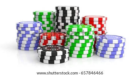 Colorful poker chips stacks isolated on white background. 3d illustration