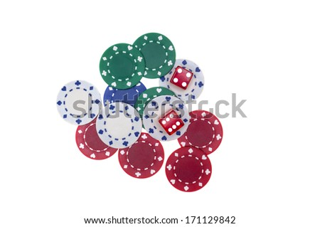 Colorful poker chips with two red dice isolated on white background