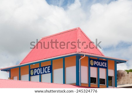Colorful police station in Philipsburg in St Martin - stock photo