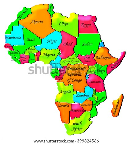 Colorful political map of Africa - stock photo