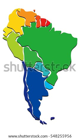Colorful political map of south America