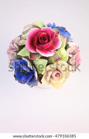Colorful porcelain flowers on white background stock photo edit now colorful porcelain flowers on the white background mightylinksfo