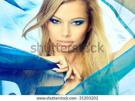 Colorful portrait of a sexy young blonde - stock photo