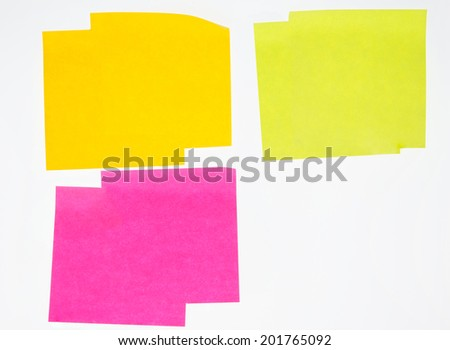 Colorful post it isolated on white background