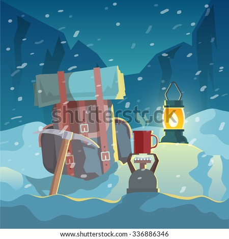 Colorful poster. Quality design illustrations, elements and concept. Conquering the summit. Expedition. - stock photo