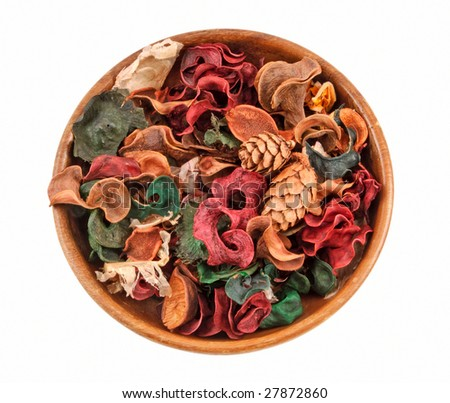Colorful Potpourri in Bowl, clipping path