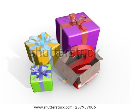 Colorful presents and in the unpacked box a three dimensional number 2 - stock photo