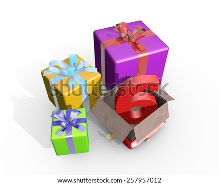 Colorful presents and in the unpacked box a three dimensional number 6 - stock photo