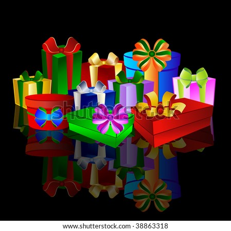 Colorful presents on black background