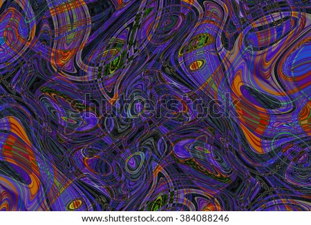 Colorful psychedelic background made of interweaving curved shapes. Illustration