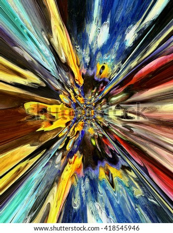 colorful psychedelic blast tunnel - stock photo