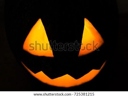 Colorful Pumpkin Face Halloween On Black Stock Photo 725381215 ...