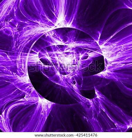 Colorful purple light line ring illustration. Abstract smoke round background