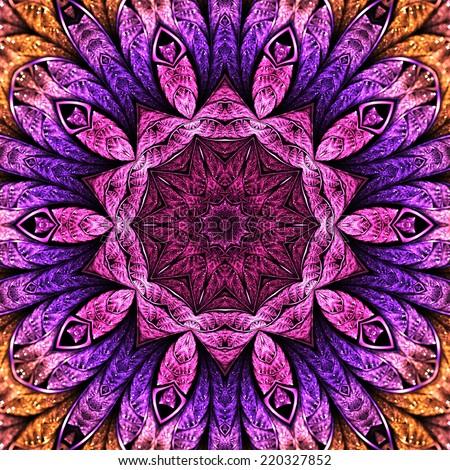 Colorful purple themed mandala, digital artwork for creative graphic design - stock photo
