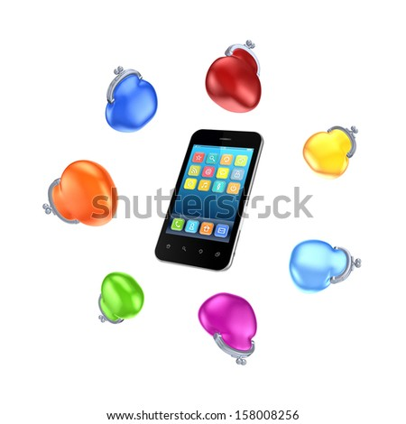 Colorful purses around mobile phone.isolated on white.3d rendered. - stock photo