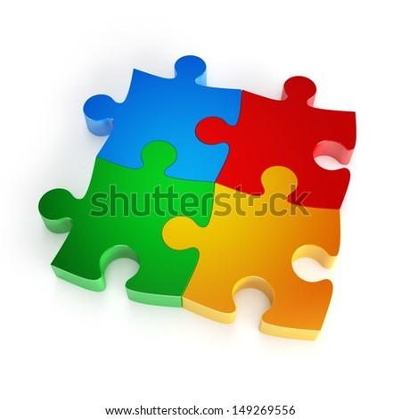 colorful puzzle pieces - stock photo