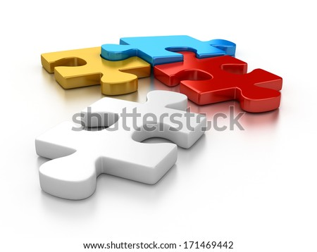 colorful puzzle pieces - stock photo